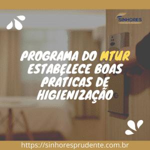 Programa do MTur estabelece boas práticas de higienização